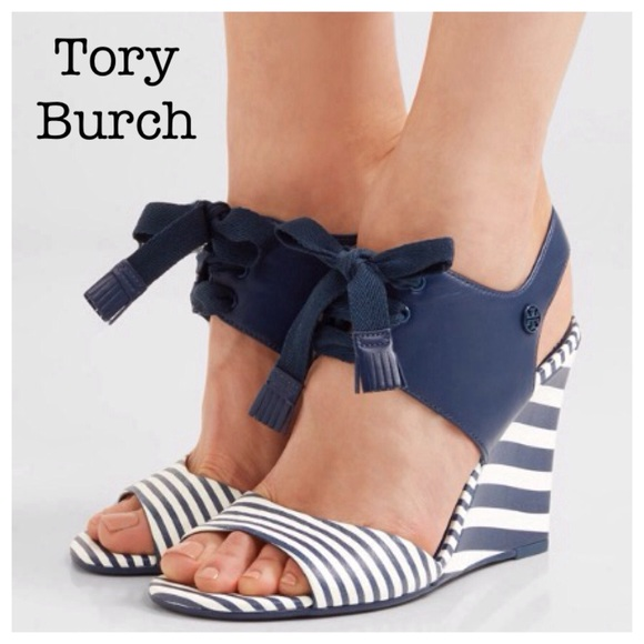 97b7bc1cbdc3 TORY BURCH sz 8 MARITIME WEDGE STRIPED SANDAL NIB